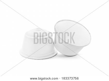 blank packaging white coffee capsule isolated on white background with clipping path