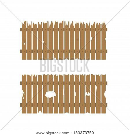 Old retro rough wooden fence with scratches and holes
