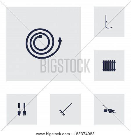 Set Of 6 Horticulture Icons Set.Collection Of Fence, Garden Hose, Rake And Other Elements.