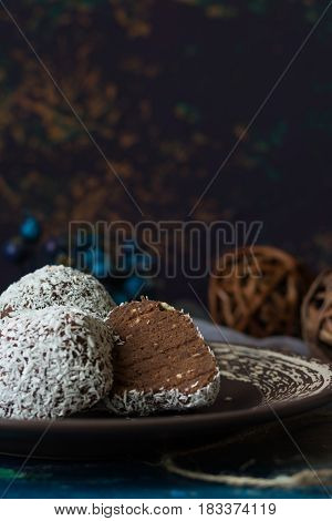 А traditional Russian chocolate cake called potatoes