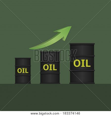 Oil barrels with green arrow. Oil quotes growth concept