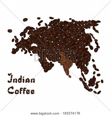 Eurasian continent made from coffee beans with highlighted India. Indian coffee lettering. Vector illustration isolated on white. Concept for selling coffee and decorate coffee shop.