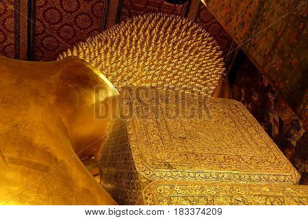 Ancient Reclining Buddha image at Wat Pho. Wat Pho is famous temple and historical landmark of Thailand.