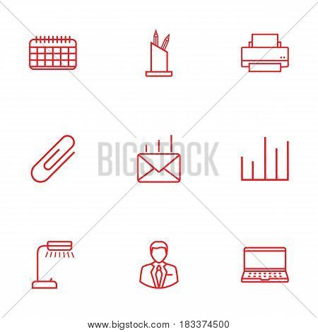 Set Of 9 Bureau Outline Icons Set.Collection Of Pen Storage, Chart, Post And Other Elements.