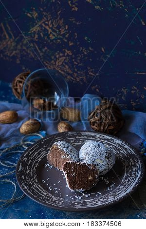 Chocolate biscuit cake  called potato in coconut chips