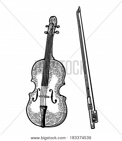 Violin with bow. Vector vintage black engraving illustration for poster, web. Isolated on white background.