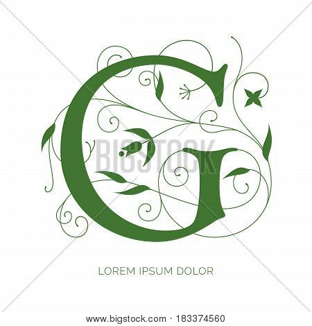 G letter floral design. Creative letter vector logo design. Letter decorated with swirls and flowers ornaments