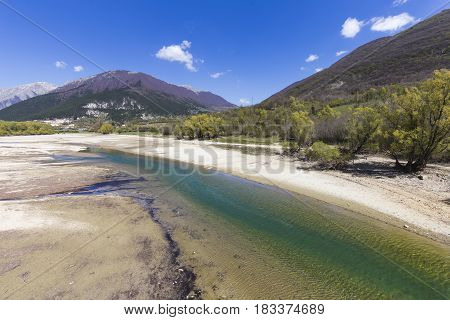 Landscape of Lake Barrea in the National Park of Abruzzo in Italy