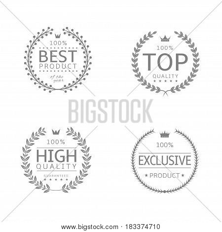Laurel wreath icons. Best product, High quality, Top quality, Exclusive product