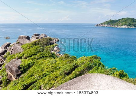Rocky coast and clear blue water of Andaman sea
