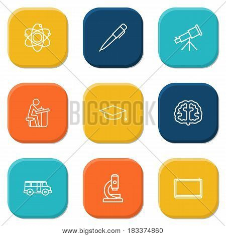 Set Of 9 Science Outline Icons Set.Collection Of School Board, Microscope, Pen And Other Elements.