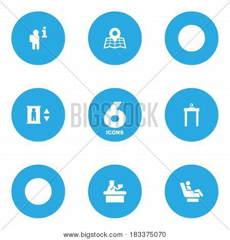 Set Of 6 Aircraft Icons Set.Collection Of Lift, Security, Data And Other Elements.