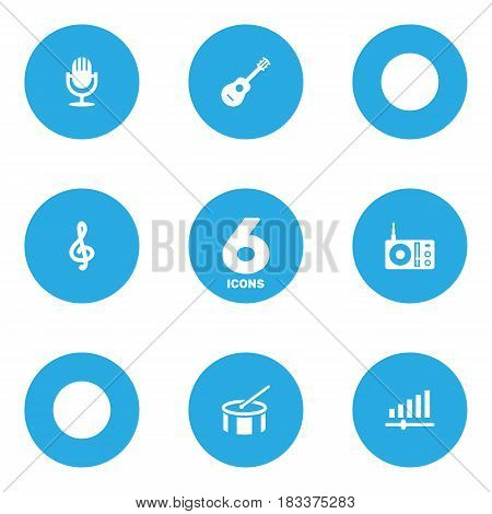 Set Of 6 Melody Icons Set.Collection Of Quaver, Acoustic, Radio And Other Elements.