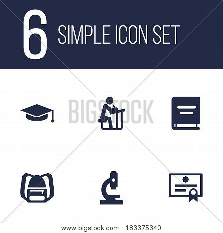 Set Of 6 Education Icons Set.Collection Of Rucksack, Textbook, Student And Other Elements.