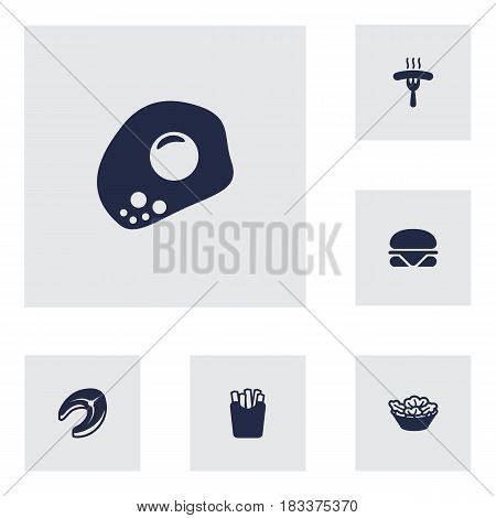 Set Of 6 Food Icons Set.Collection Of Frankfurter, Burger, Lettuce And Other Elements.