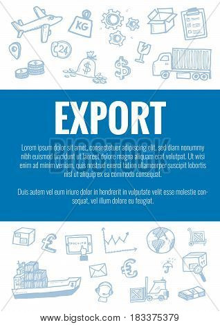 Vector Template For Export Theme With Hand Drawn Doodles Logistic Business Icons In Background.theme