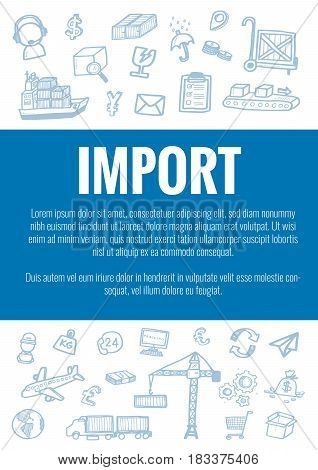 Vector Template For Import Theme With Hand Drawn Doodles Logistic Business Icons In Background.theme