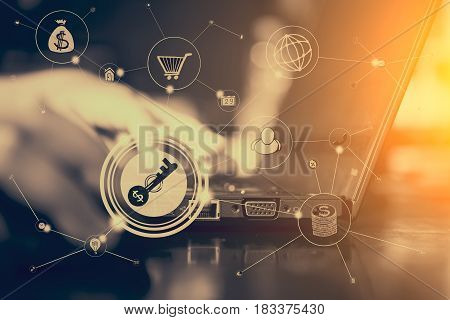 Multichannel online business communication network digital technology via internet. Some elements of this image furnished by NASA.