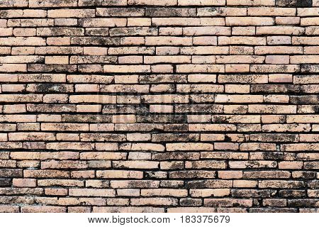 Old brick walldifferent sized and red orange and yellow make irregular brickwork pattern.Vintage texture background.Old construction and building background. Retro backdrop with free space for text.