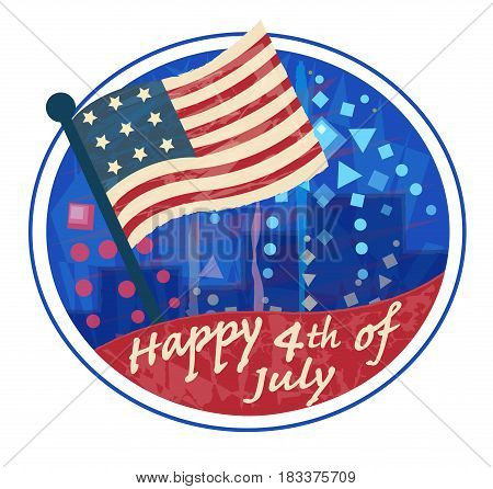 Happy 4th of July clip art with American flag and fireworks. Eps10