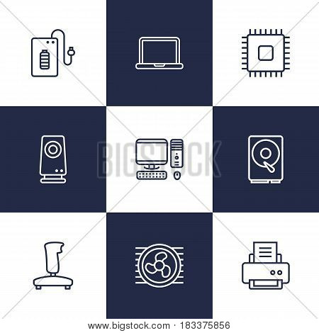 Set Of 9 Laptop Outline Icons Set.Collection Of PC, Speaker, Gamepad And Other Elements.