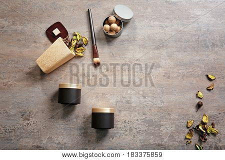 Composition with spa supplies on gray background