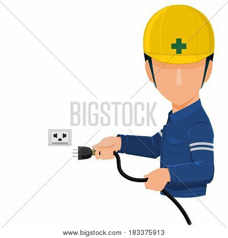 worker is holding plug on transparent background
