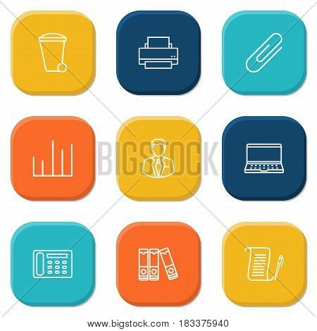 Set Of 9 Service Outline Icons Set.Collection Of Chart, Fastener Paper, Printing Machine And Other Elements.