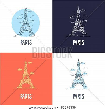 Paris Eiffel Tower. Travel, doodle, line. Flat vector illustration.