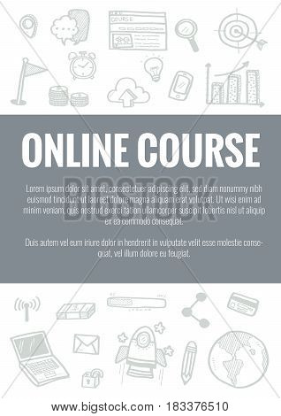 Vector Template For Online Course Theme With Hand Drawn Doodles Business Icon In Background.concept