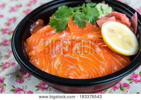 japanese food Salmon Chirashi Rice Bowl