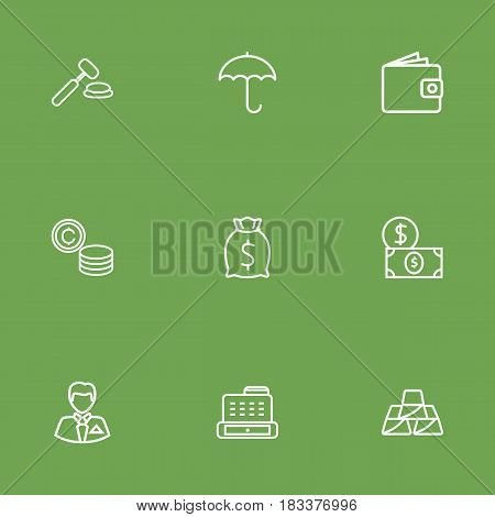 Set Of 9 Sponsor Outline Icons Set.Collection Of Moneybag, Businessman, Cash Register And Other Elements.