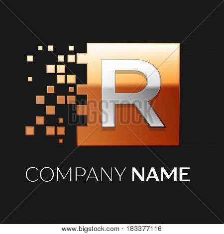 Letter R vector logo symbol in the colorful square with shattered blocks on black background. Vector template for your design