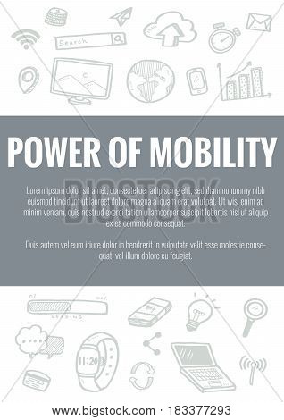 Vector Template For Power Of Mobility Theme With Hand Drawn Doodles Business Icon In Background.conc
