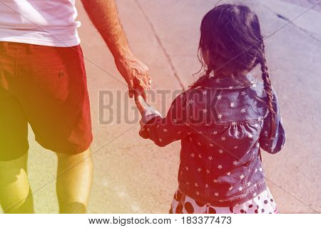 Family Father Daughter Holding Hand Togetherness
