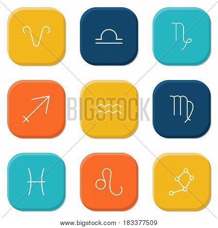 Set Of 9 Astrology Outline Icons Set.Collection Of Virgo, Leo, Aqurius And Other Elements.