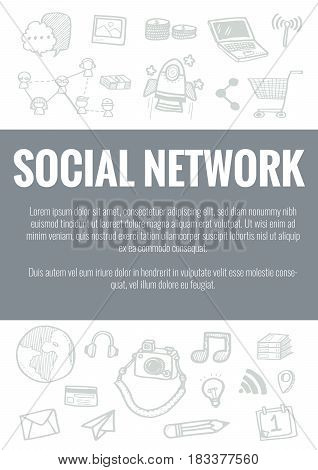 Vector Template For Social Network Theme With Hand Drawn Doodles Business Icon In Background.concept