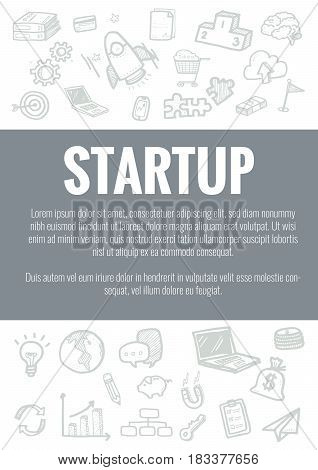 Vector Template For Startup Theme With Hand Drawn Doodles Business Icon In Background.concept For Bu