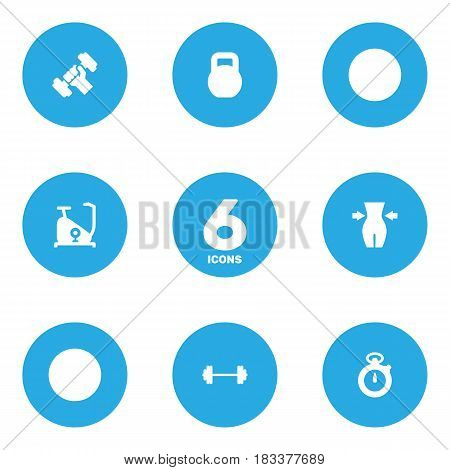 Set Of 6 Training Icons Set.Collection Of Slimming, Dumbbell, Weights And Other Elements.