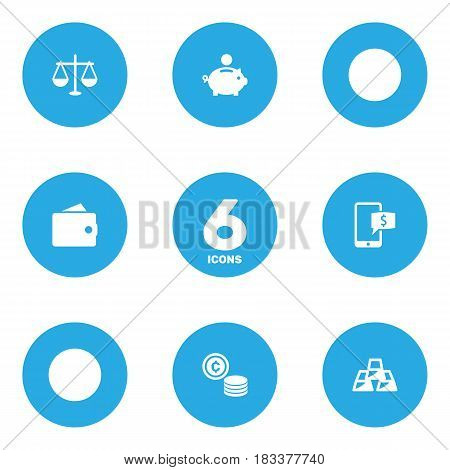 Set Of 6 Finance Icons Set.Collection Of Ingot, Online Banking, Purse And Other Elements.