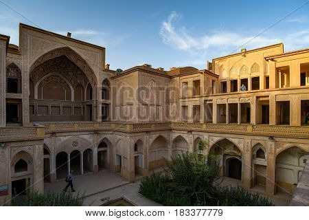 KASHAN IRAN - OCTOBER 20 2016 : The Abbasian (Abbasi) House is a large traditional historical house was built in the late 18th century by a wealthy merchant in Kashan Isfahan Province Iran.