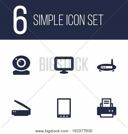 Set Of 6 Laptop Icons Set.Collection Of Photocopy, Peripheral, Router And Other Elements.