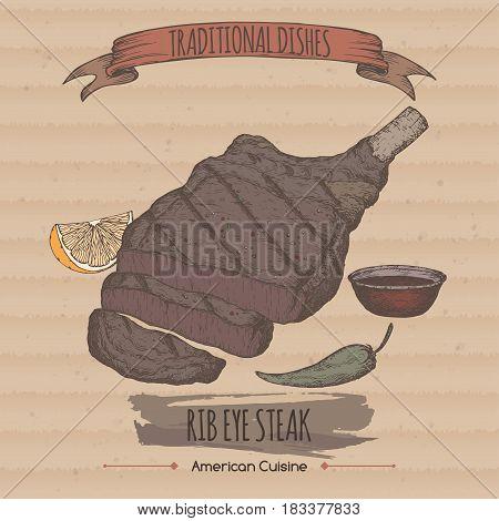Color vintage grilled rib eye steak template placed on cardboard background. Great for market, restaurant, grill cafe, food label design.