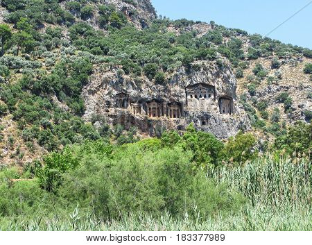 ancient tombs in the mountains in dalyan turkey