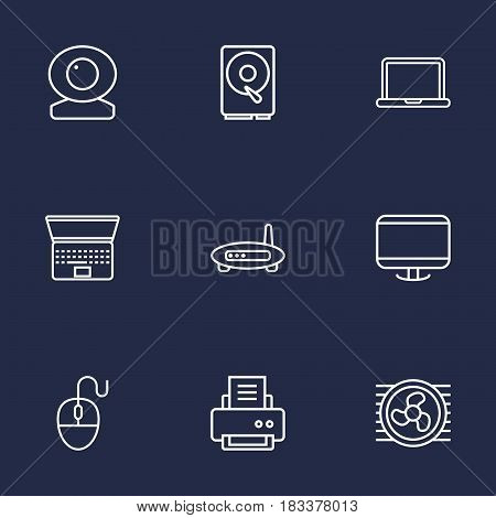 Set Of 9 Notebook Outline Icons Set.Collection Of Modem, Notebook, Cooler And Other Elements.