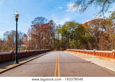 The road in the Piedmont Park in sunny autumn day Atlanta USA