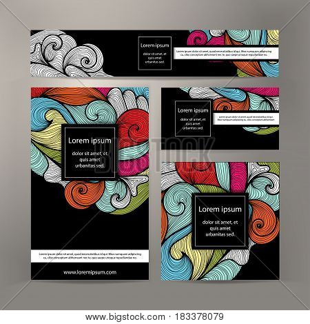 Corporate Identity vector templates set design with abstract vivid detailed waves and lines. Colorful banner id cards flayer design. Templates set