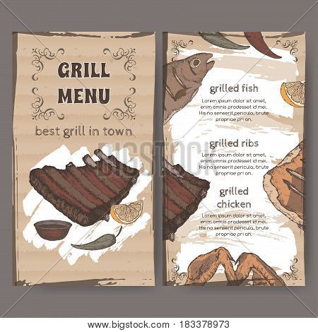 Color vintage grill restaurant menu template with hand drawn sketch of grilled fish, ribs, chicken legs and wings. Placed on cardboard background. Great for grill cafes and restaurants.