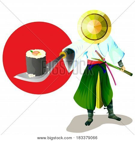 Samurai is holding no sword to sushi against the background of the red sun