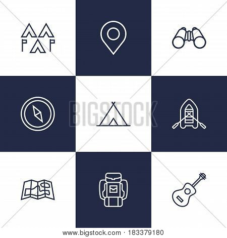 Set Of 9 Adventure Outline Icons Set.Collection Of Place Pointer, Shelter, Rubber Boat And Other Elements.